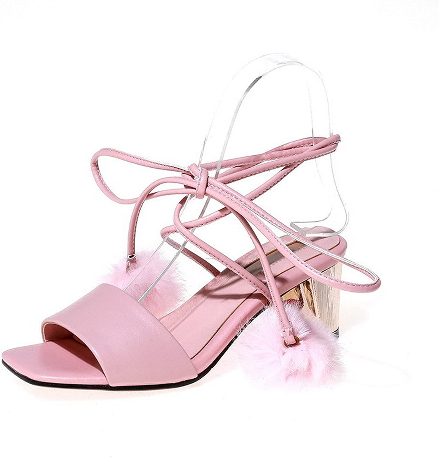 WeiPoot Women's Kitten-Heels Soft Material Solid Lace-up Open Toe Sandals