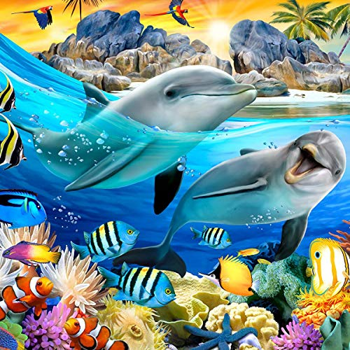 ForWall Fototapete Wanddekoration - Wandtapete Lustige Tier-Selfies Delphine P8 (368cm. x 254cm.) AMF12850P8 Wandtapete Design Tapete Wohnzimmer Schlafzimmer