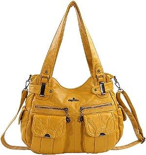 "Angelkiss Women Bag Top-handle Handbag Multifunctional Bag Washable PU Shoulder Bag 13""x17"" Casual Bags Bolsa (yellow)"