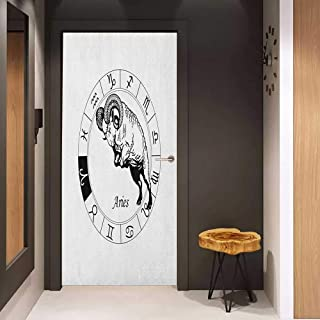 Onefzc Glass Door Sticker Decals Zodiac Aries Zodiac Wheel with Twelve Signs and Jumping Animal Spirituality Esoteric Door Mural Free Sticker W30 x H80 Black and White