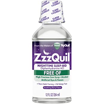 Vicks ZzzQuil Nighttime Sleep Aid Liquid, FREE OF Alcohol & Artificial Dyes, Soothing Berry Flavor, 12 Fl Oz