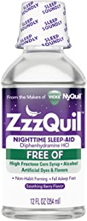ZzzQuil Nighttime Sleep Aid Liquid, FREE OF Alcohol & Artificial Dyes, Soothing Berry Flavor, 12 Fl Oz
