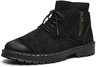 Xujw-shoes store, 2019 Mens New Lace-up Flats Mens Fashion Ankle Boot for Men High Top Work Boots Suede Leather Lace Up Side Zipper Burnished Style Anti-Slip Elastic Socks Collar Stitch Comfortable