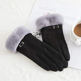 Sparsil Women Touch Screen Suede Glove Winter Artificial Rabbit Hair Wrist Mouth Gloves Thickening Warm Wool Fleece Mittens Women's Gloves