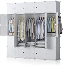 YOZO Modular Wardrobe Plastic Portable Closet Organization Dresser Customizable Cube Storage Organizer Bedroom Armoire Dresser, 25 Cubes, Depth 18 inches, White