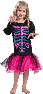 Halloween Funky Punk Bones Costume Kids Girls Colorful Skeleton Costume Dress
