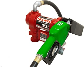 Fill-Rite FR1210GA1 12V 15 GPM (57 LPM) Fuel Transfer Pump with Discharge Hose, Automatic Nozzle (Leaded), Suction Pipe