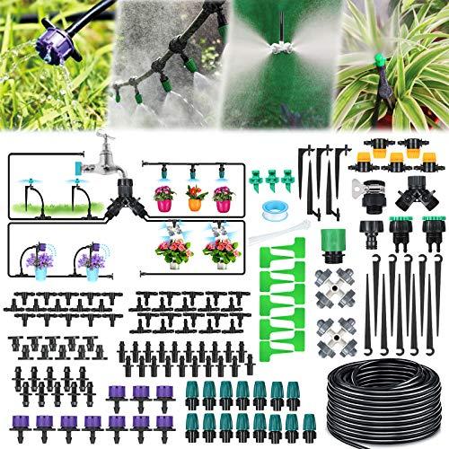 Jeteven 163PCS Kit dirrigation Goutte, 40M Kit Micro Irrigation Goutte à Goutte Jardin Système dArrosage Micro Flow Automatique Automatique pour Jardin, Pelouse, Plante, Paysage, Potager, Serre