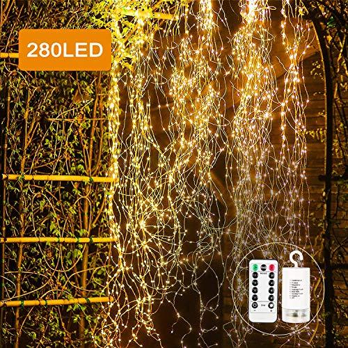 Led Lichterbündel, Zorara 2M 280 LED Wasserdichte Dekorative Wasserfall-String-Leuchten, 8 Lichtmodi lichterbündel mit Fernbedienung, Warmweißm Lichterkette für Garten, Party, Weihnachten, Hochzeit