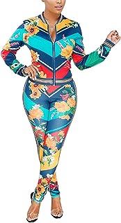 Women's Floral Print 2 Piece Set Open Front Zipper Jacket and Skinny Long Pants Plus Size Tracksuit