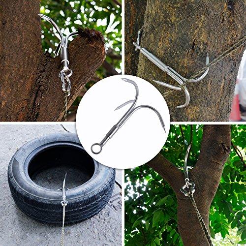 Grappling Hook Grapnel Hook, 3-Claw Stainless Steel Tree Climbing Hook, Brunch Limb Retrieval Hook Removal Hook EDC Tool-M