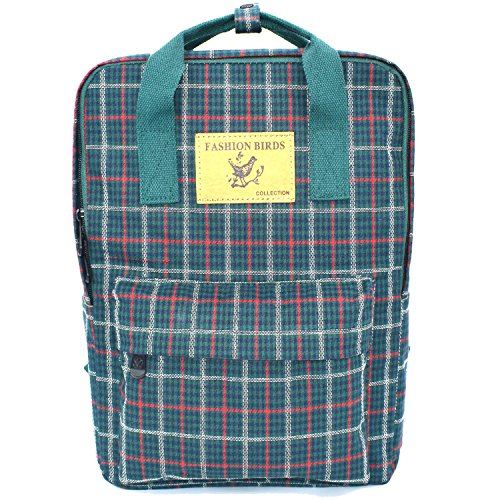 Micoop Large Size Waterproof Check Pattern School Backpack Travel Outing Dayback for Women and Girls (Green)