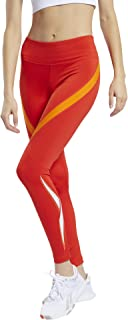 بنطلون لجينجز رياضي للتمرين بأستك وشعار خلفي مطبوع مختلف اللون للنساء من ريبوك ريدي Vector - احمر، XL