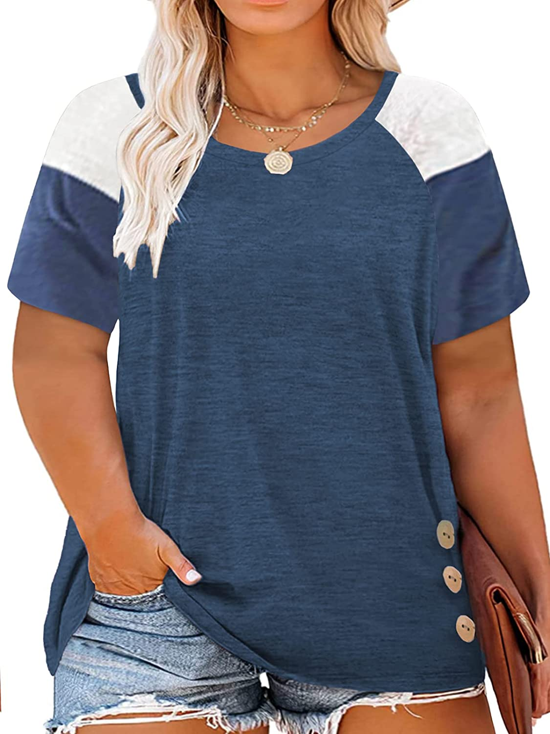 DOLNINE Plus-Size Tops for Women Short Sleeve Color Block Casual T-Shirts Tunics