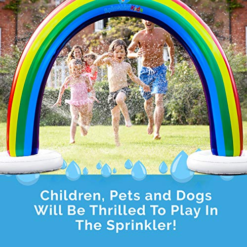 Splashinkids Outdoor Rainbow Sprinkler Super Toddler Water Toys for Children Infants Boys Girls and Kids Perfect Outside Inflatable Water Park for Summer Fun Watch Video Slip and Slide Splash pad