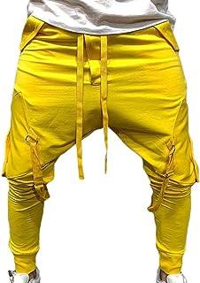 Yisism Men Simple Plain Yoga Workout Athletic Baggy Sweatpants Jogger Pants