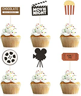 Donoter 48 Pcs Movie Night Cupcake Toppers for Hollywood Movie Theater Themed Birthday Party Decorations