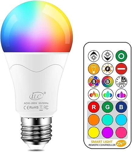 iLC 85W Équivalent Ampoule Led Couleur Changement de couleur Dimmable E27 Edison RGBW Télécommande Compris