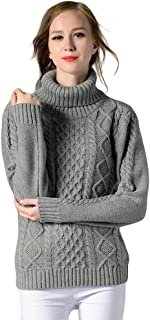 Locomo Women Girl Turtleneck Cable Knit Pullover Sweater Top FFK098GRYL