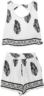 773cd7147e08d Summer Women 2pc Sleeveless Backless Printed 2 Pieces Set Casual Short  Pants Tank Top Wear Sport