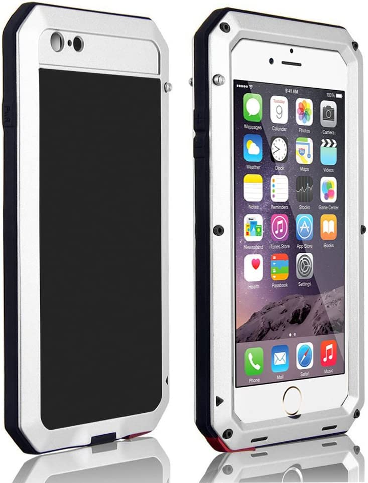 CarterLily Shockproof Dustproof Water Resistant Aluminum Armor Full-Body Protection Case for iPhone 6 Plus/iPhone 6S Plus (White)