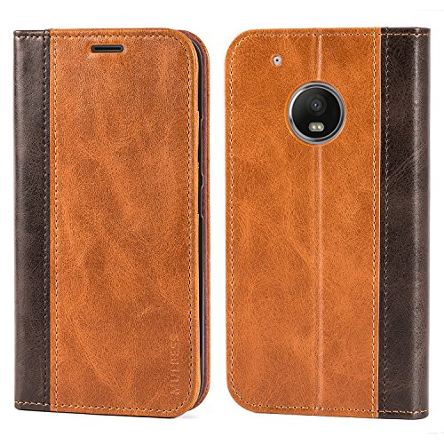 Moto G Plus (5th Generation) Case,Mulbess BookStyle Leather Wallet Case Cover with Kick Stand for Lenovo Motorola Moto G5 Plus/G Plus 5th Gen,Brown