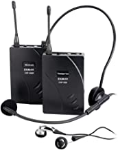 EXMAX UHF-938 UHF Acoustic Transmission Wireless Headset Microphone Audio Tour Guide System for Church Translation Teaching Travel Simultaneous Interpretation(1 Transmitter and 1 Receiver)