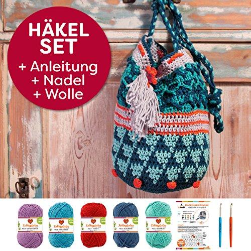 myboshi Häkel-Set Tasche Shunan | aus No.2 | Anleitung + Wolle | mit 2 passenden Häkelnadeln | Blaubeere Meerblau Tomate Candy Aquamarin