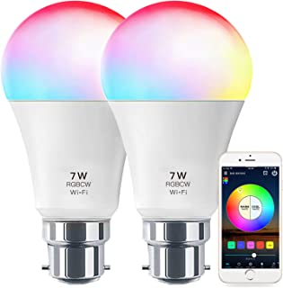 Smart Light No Hub Required, Zombber B22 A19 7w (60w Equivalent) 2700k-6500k White and Color Changing WiFi Light Bulb, Com...