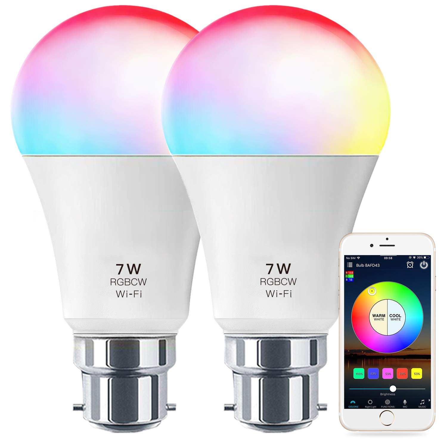 B22 and Google Home Tapo L530B WiFi Smart Switch Energy Class A+ 8.7W Colour-Changeable Works with  Alexa No Hub Required TP-Link Tapo Smart Bulb Echo and Echo Dot