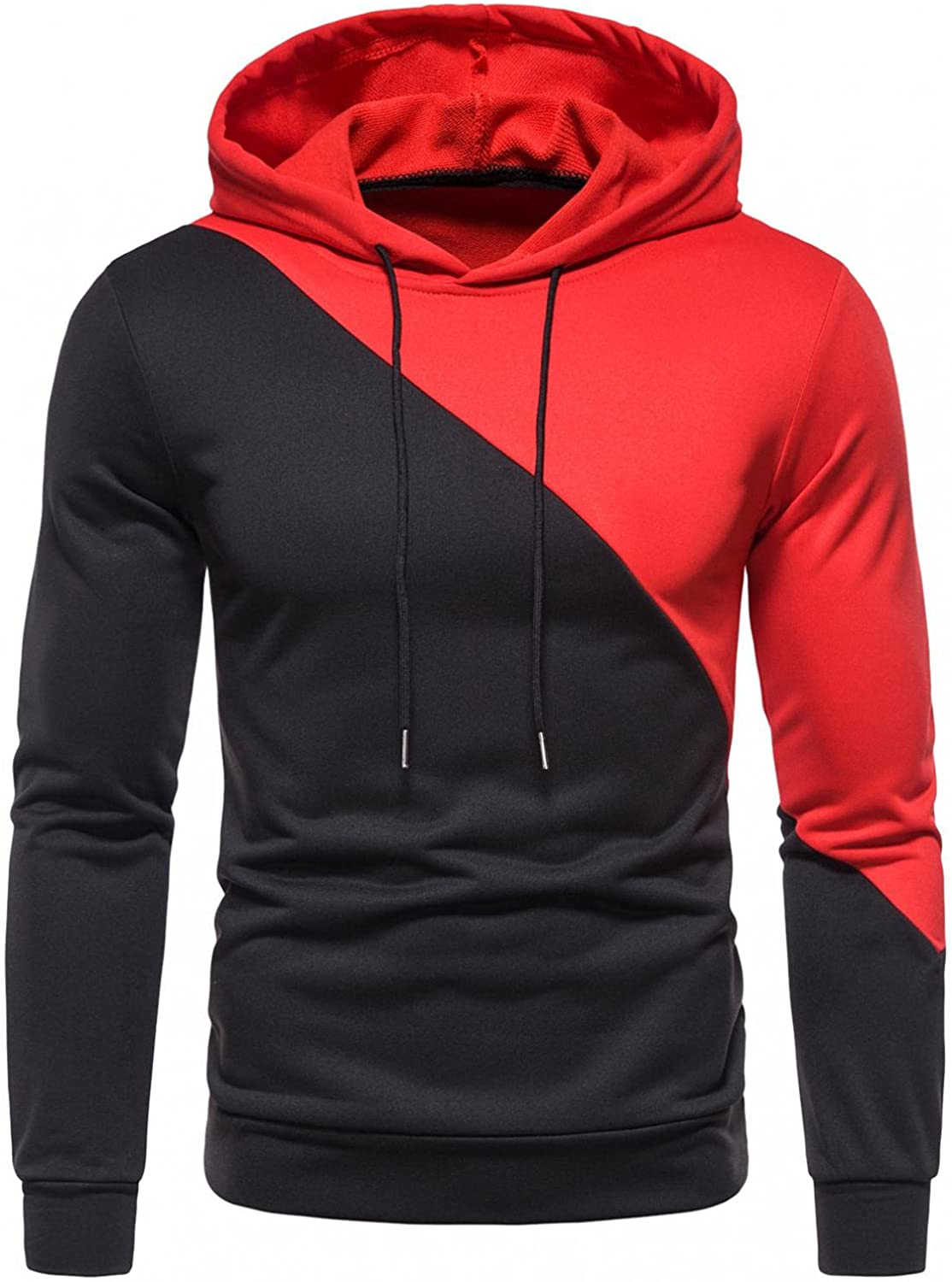 Sweatshirts for Men Pullover Long Sleeve Pullover Slim Fit Patchwork Athletic Sweatshirt Gym Hooded Tops Coats with Pockets
