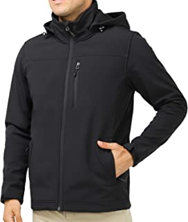 MIER Men's Hooded Softshell Jacket Fleece Lined Tactical Outerwear Jacket, Windproof, Water Resistant