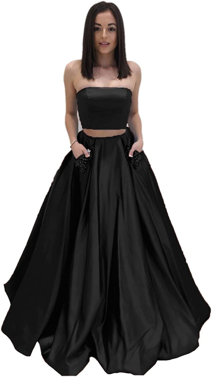 Sweet Bridal Women's Two Piece bluee Long Prom Dress with Pockets