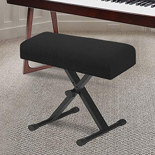 Stretch Piano Stool Cover Keyboard Bench Covers Non Slip with Thick Elastic Bottom Feature Checked Jacquard Pattern Super Thick Form Fitted The Length 20'-26' (Medium Size - Black)