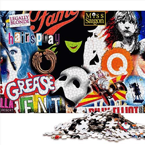Puzzle para adultos rompecabezas de 1000 piezas Música Broadway Conjunto de rompecabezas familiar art Rompecabezas Juegos educativos para adultos y niños para aliviar el estrés. (mini38x26cm)