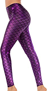 Halloween Shiny Fish Scale Mermaid Leggings for Women...