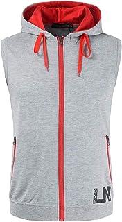 AngelSpace メンズヒップホップスポーツスタッズトップドローストリングフーディーポケットベストシャツ