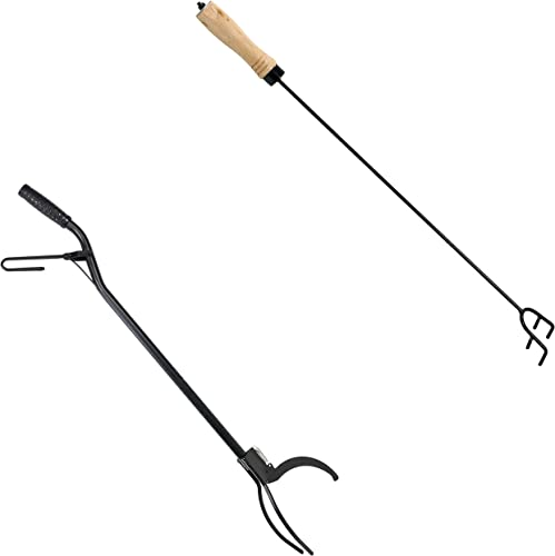 high quality Sunnydaze 36-Inch Black Heavy-Duty Outdoor/Indoor Log Grabber Tongs with Easy Spring Lever sale Action and 26-Inch Long Steel Outdoor/Indoor Poker outlet online sale Stick with Wood Bundle outlet online sale