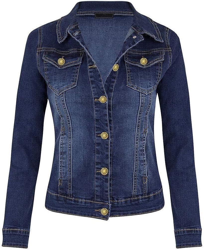 Women Casual Denim Jackets,Jchen Ladies Girls Slim Fit Jean Jacket Coats Washed Blue Button Down Denim Jacket Outwear