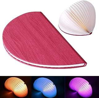 lesgos 折り畳み式ブックランプ USB充電式 ナイトライト ノベルティ ハート型 磁石式ブックライト デスクテーブル装飾用 ピンク 6219947604149