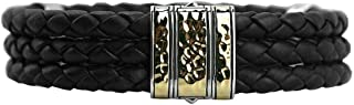 John Hardy Classic Chain Multi Row Leather ST. Silver 18K Gold Bracelet 168B