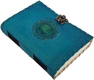 Anshika International Rustic Leather Handmade Stone Diary with Metal,C, Lock (Ocean Blue)