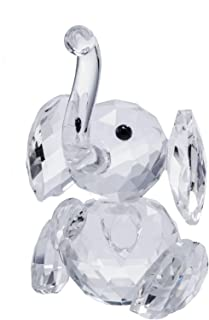 DMtse 3D Crystal Ornament Cute Elephant Figurine Collectible Cut Glass Ornament Statue Animal Decor with Box
