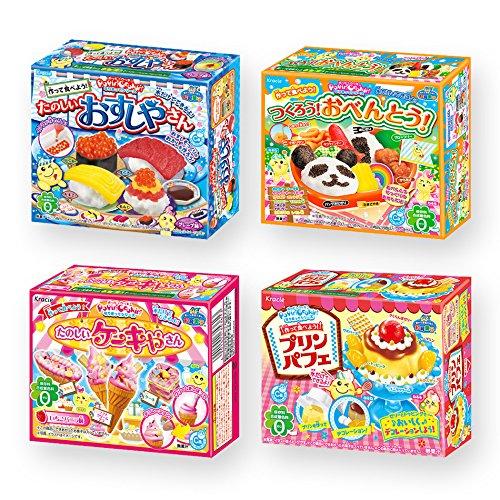 Ninjapo Wrapping Kracie Japanese DIY Candy 'Popin Cookin' F set: Assortment of Bento, Sushi, Cake, Pudding Parfait (total 4)