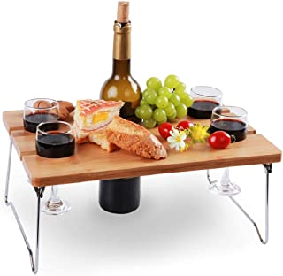INNO STAGE Portable and Foldable Wine and Snack Table for Picnic Outdoor on The Beach Park or Indoor Bed for 2,4 or 6 (WL ...