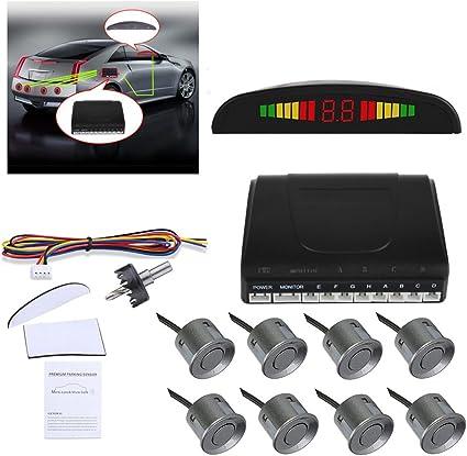 4 Parking White Sensors LED Car Backup Reverse Rear Radar System Alert Alarm Kit
