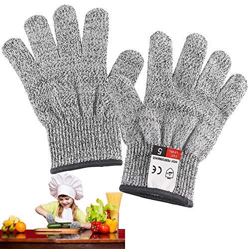 Schnitzhandschuh Kinder, Schnittfeste Handschuhe, Arbeitshandschuhe Kinder, Handschuhe für Gartenbau, Leistungsfähiger Level 5 Schutz (XXXS-13cm)
