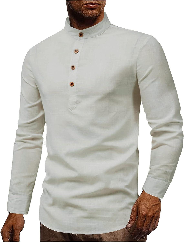 FUNEY Men's Casual Slim Fit Button Up Henley Shirts Long Sleeve Stand-Up Collar T-Shirt Fashion Cotton Linen Shirt Tops