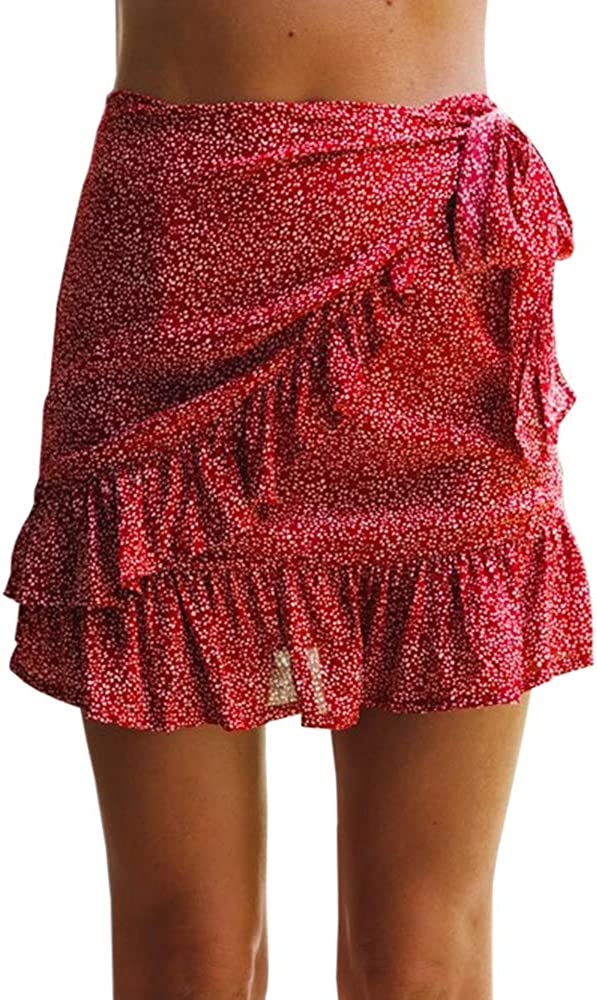 GAMISOTE Women's Summer Mini Skirt Ruffle Hem Mid Waist Knot Solid Short Skirts