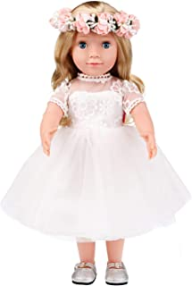 MeiMei 18 inch Doll Girl Wedding Toy Outfit Eyes Can Open & Close Toddler Dolls for Kids 3+ Adorable in Gift Box
